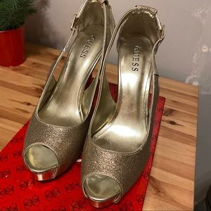 Guess Glitter Open Toed Platform Pumps